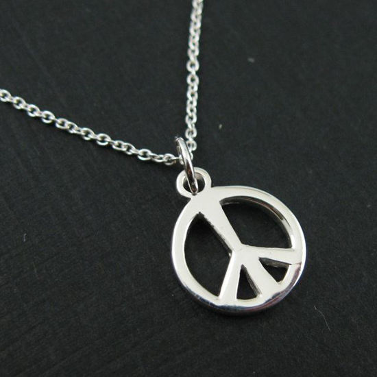"""Wholesale 925 Sterling Silver Necklace - Thick Peace Charm Necklace (16-24"""")"""