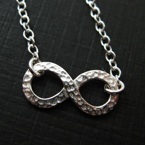 Wholesale 925 Sterling Silver Hammered Infinity Charm Pendant Necklace (16-24 inch)