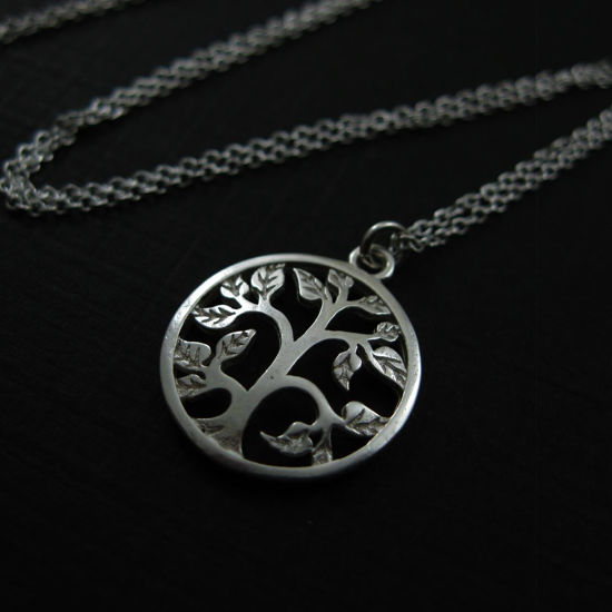 Wholesale 925 Sterling Silver Tree with leaves Charm Pendant Necklace (16-24 inch)