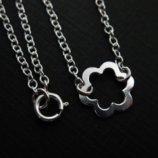 Wholesale 925 Sterling Silver Flower Charm Connector- (16-24 inches)