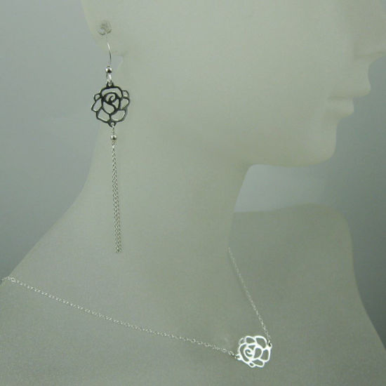Wholesale 925 Sterling Silver Jewelry Set- Sweet Rose Connector