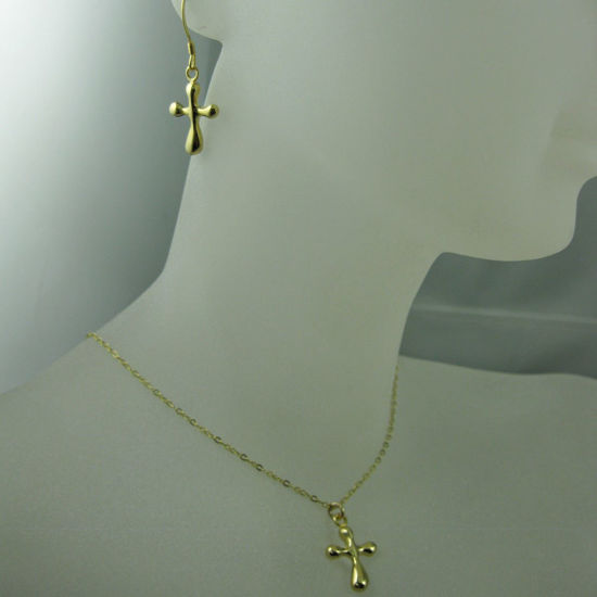 Wholesale 18k Gold plated over Sterling Silver Vermeil Jewelry Set- Fancy Cross