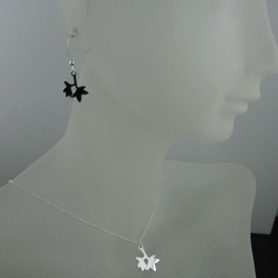 Wholesale 925 Sterling Silver Jewelry Set- Double Leaf Charm