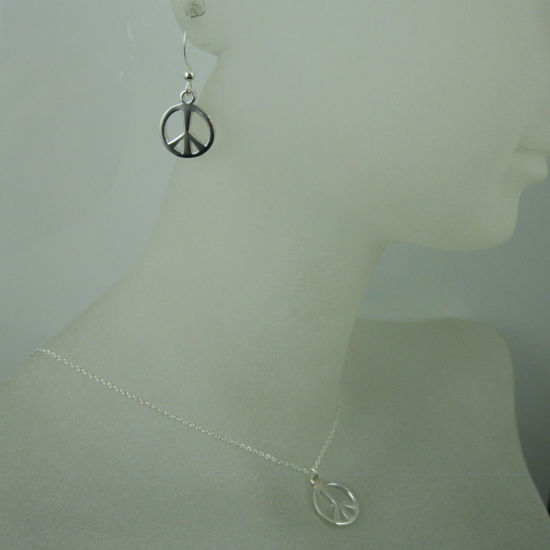Wholesale 925 Sterling Silver Jewelry Set- Thick Peace Charm