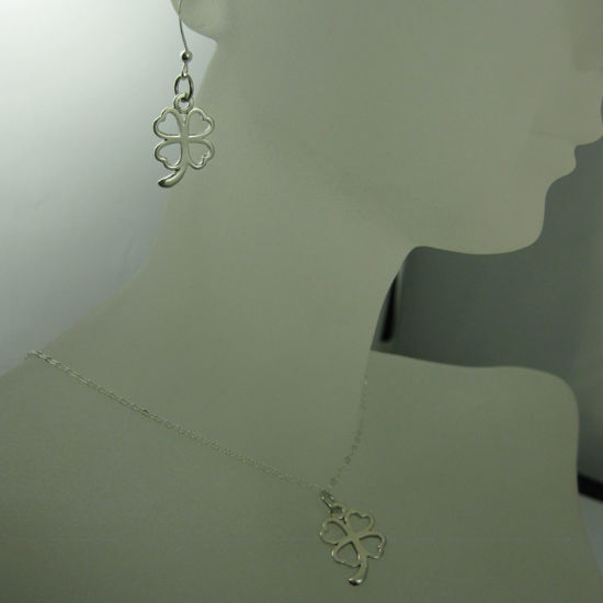 Wholesale 925 Sterling Silver Jewelry Set- Four Leaf Clover