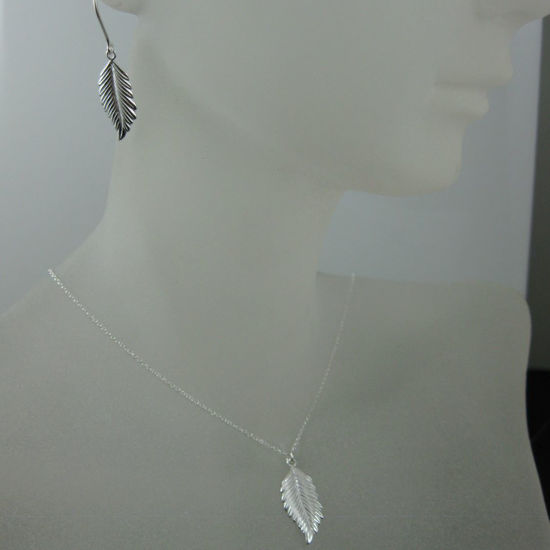 Wholesale 925 Sterling Silver Jewelry Set-Feather Charm