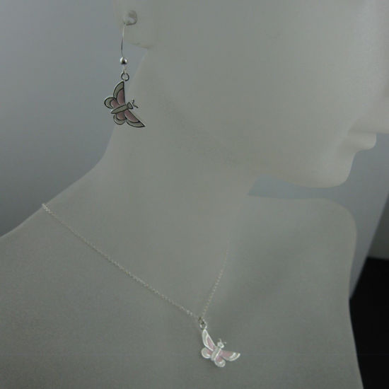 Wholesale 925 Sterling Silver Jewelry Set-White and Pink Butterfly Charm
