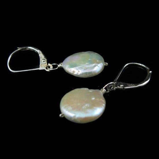 Wholesale 925 Sterling Silver Earrings-Single Pearl Coin