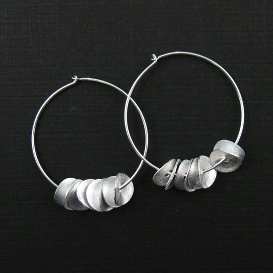 Wholesale 925 Sterling Silver Earrings-Hoops with Wavy Discs