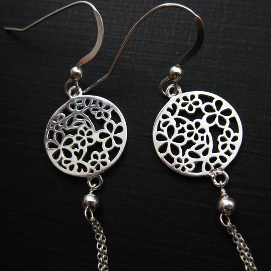 Wholesale 925 Sterling Silver Earrings-Round Flower Connector
