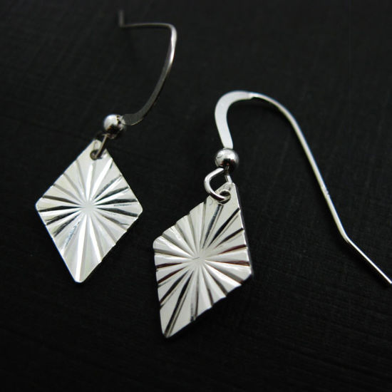 Wholesale 925 Sterling Silver Earrings-Textured Diamond Charm