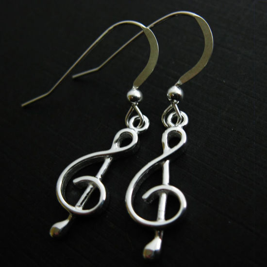 Wholesale 925 Sterling Silver Earrings-Music Note Charm