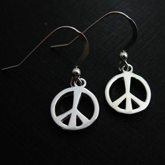 Wholesale 925 Sterling Silver Earrings-Peace Charm