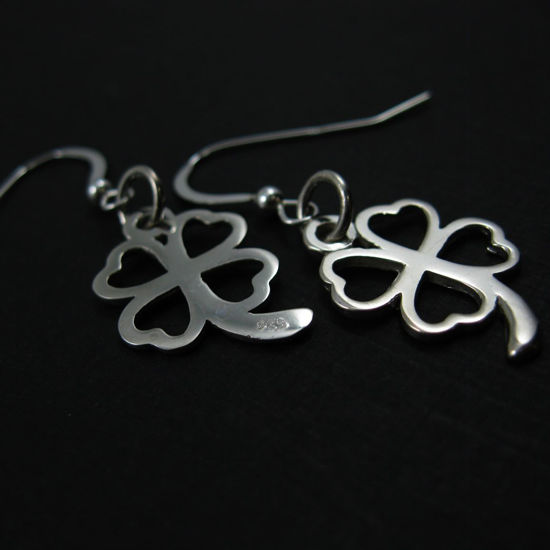 Wholesale 925 Sterling Silver Earrings- Four Leaf Clover