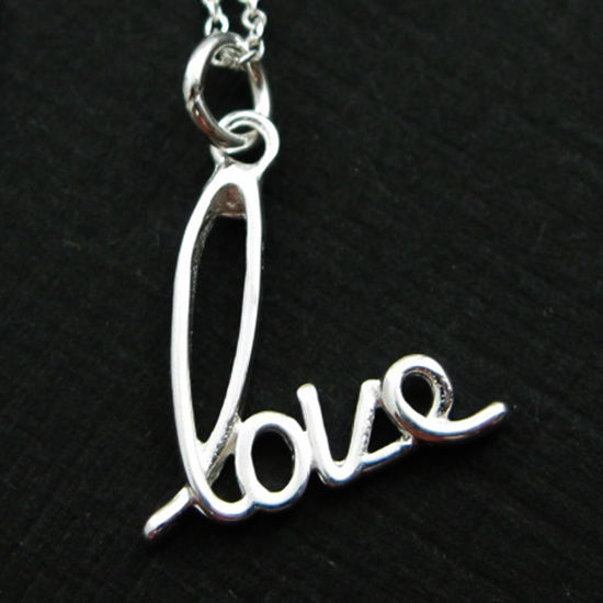 """Wholesale 925 Sterling Silver Necklace - Love (16-24"""")"""