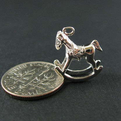Wholesale Sterling Silver Rocking Horse Charm,  Charms and Pendants for Jewelry Making, Wholesale Findings