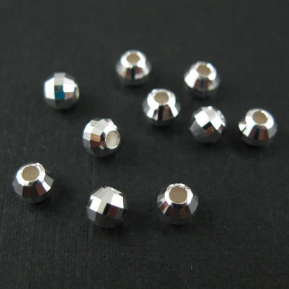 Wholesale 925 Sterling Silver Findings - Faceted Round Beads - 4 mm  (10 pcs)