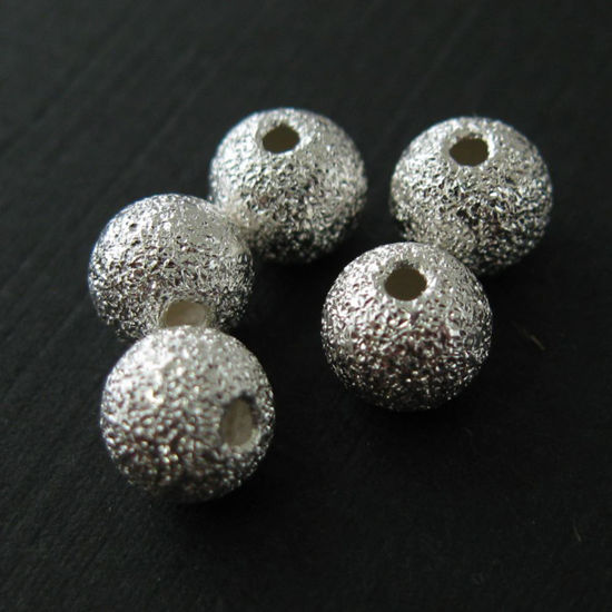 Wholesale Sterling Silver Findings - Textured Round Bead - 6mm ( 5 pcs)