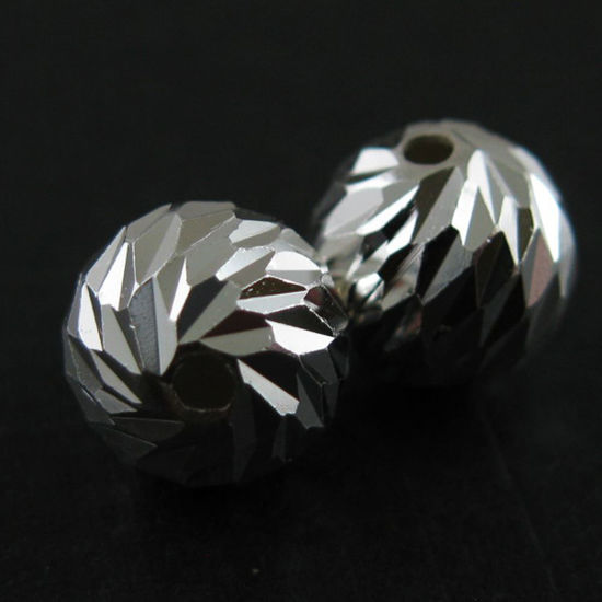 Wholesale Sterling Silver 8mm Textured Round Beads (Sold Per 2 Pieces)