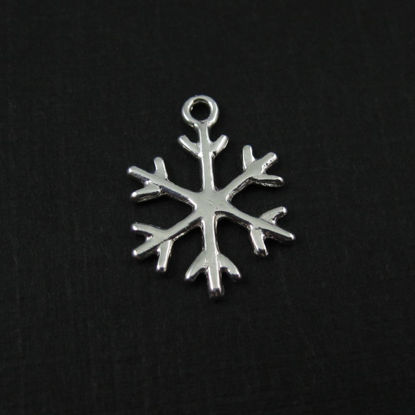 Wholesale 925 Sterling Silver Snowflake Charm - 18x13mm (1 pc)