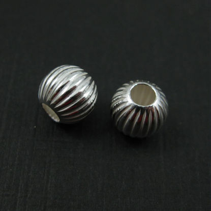 Wholesale Sterling Silver 8mm Textured Round Stripped Beads for Jewelry Making, Wholesale Beads and Findings