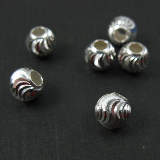 Wholesale Sterling Silver 6mm Swirled Round Beads for Jewelry Making, Wholesale Beads and Findings