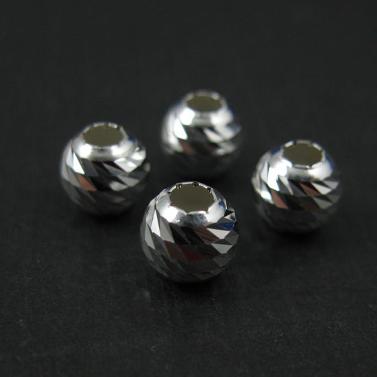 Wholesale Sterling Silver 4mm Finely Detailed Round Beads for Jewelry Making, Wholesale Beads and Findings