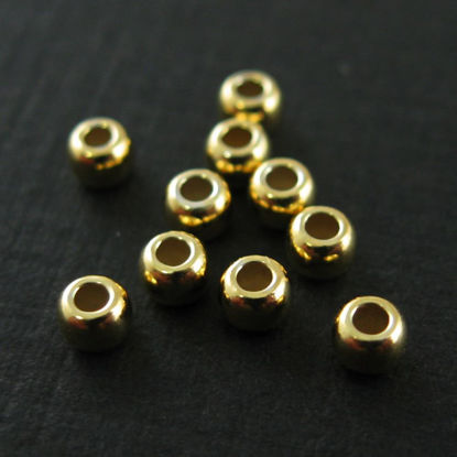 Wholesale Gold plated Sterling Silver  2.5mm Round Beads for Jewelry Making, Wholesale Beads and Findings