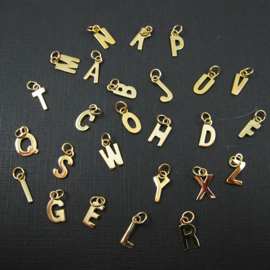77bb33d75dc366 Wholesale Gold plated Sterling Silver Smooth Letter Initial Charms and  Pendants for Jewelry Making, Wholesale