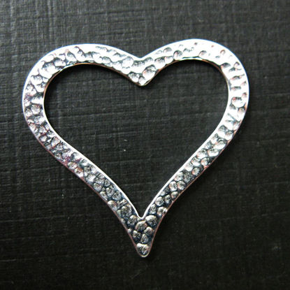 Wholesale Sterling Silver Large Hammered Heart Charm Pendant Connector - 27x29mm (1 pc)