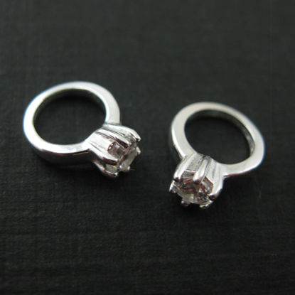 Wholesale Sterling Silver Promise Ring Charm with CZ Cubic Zirconia Stone, Charms and Pendants for Jewelry Making, Wholesale Findings