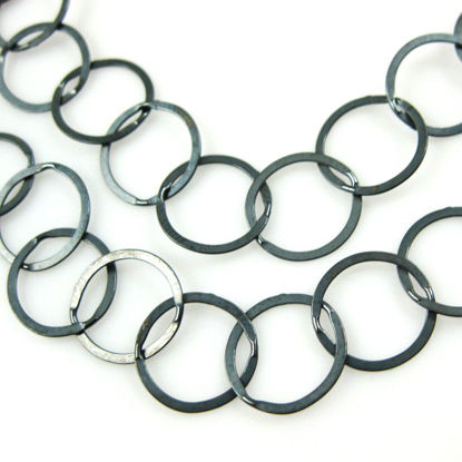 Wholesale Chain, Oxidized Sterling Silver Flat Circle Chain 10mm Bulk Chain by the foot