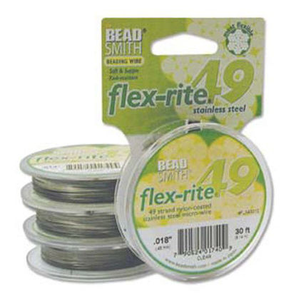 "Wholesale Beadsmith Flex-rite 49 Strand Beading Wire -Clear Coated Stainless Steel Wire - .014"" 30 ft"