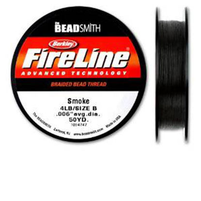 Wholesale Beadsmith Fireline Braided Thread, Smoke Thread 50 Yards Size 4lb Test, Wholesale Beading Supplies