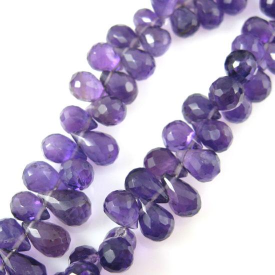 Wholesale Semi Precious Gemstone Beads - Teardrop Shape - 100% Genuine Amethyst Gemstone Faceted Drops - Grade B Briolette Nature Stone - 8 mm