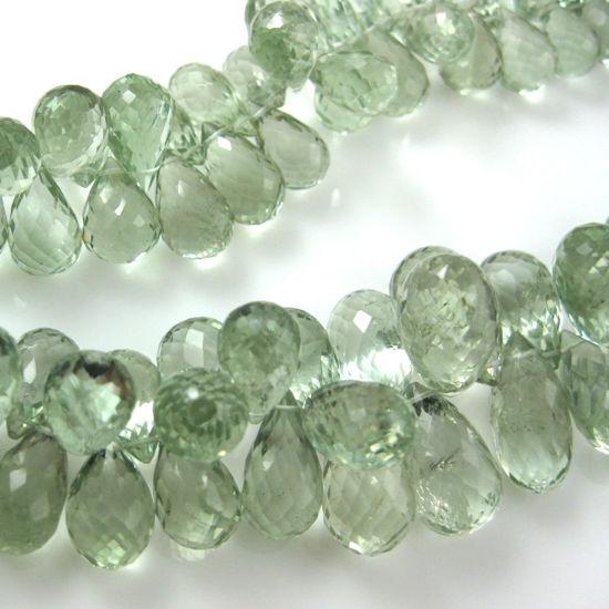 Wholesale Semi Precious Gemstone Beads  - Teardrop Shape - 100% Genuine Green Amethyst Gemstone Faceted Drops - Grade AA Briolette Nature Stone