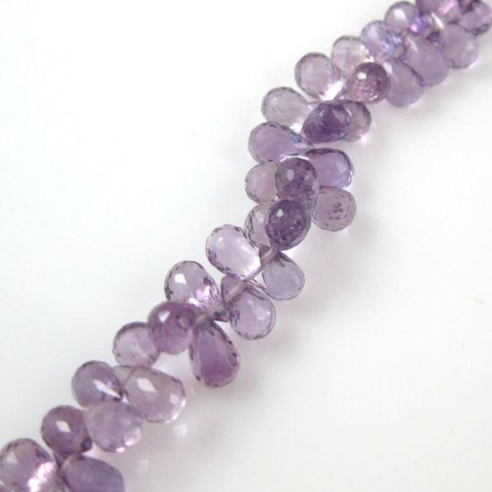 Wholesale Semi Precious Gemstone Beads - Teardrop Shape - 100% Genuine Pink Amethyst Gemstone Faceted Drops - Grade AA Briolette Nature Stone - 8 mm - 10 pcs