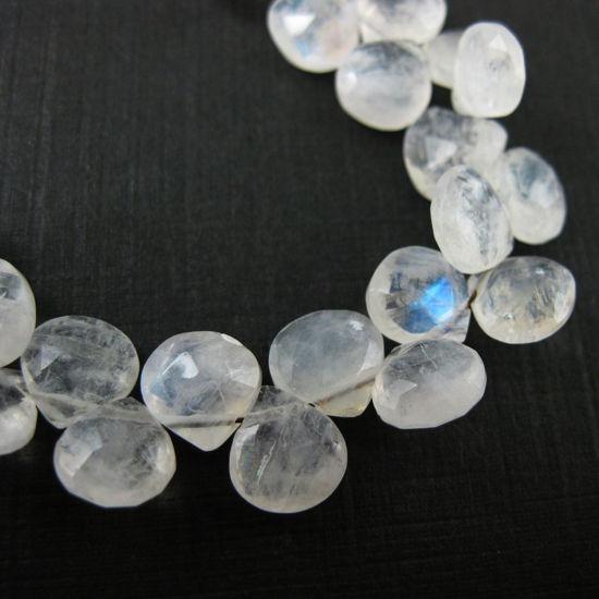 Wholesale June Birthstone-Semiprecious Gemstone Beads -100% Genuine Rainbow Moonstone Gemstone Bead Faceted Heart Shape Briolette- Grade AA (sold per strand)