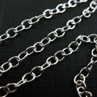 Wholesale Chain, 925 Sterling Silver 3x4mm Strong Cable Oval Chain, bulk chain by the foot