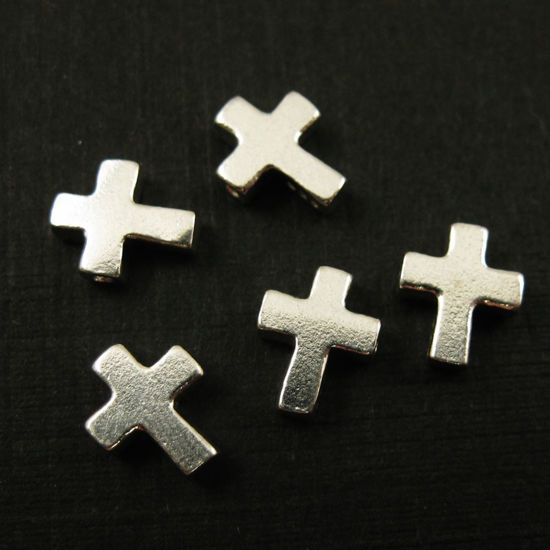 Wholesale Sterling Silver Tiny Cross Connector Charms and Pendants for Jewelry Making, Wholesale Findings