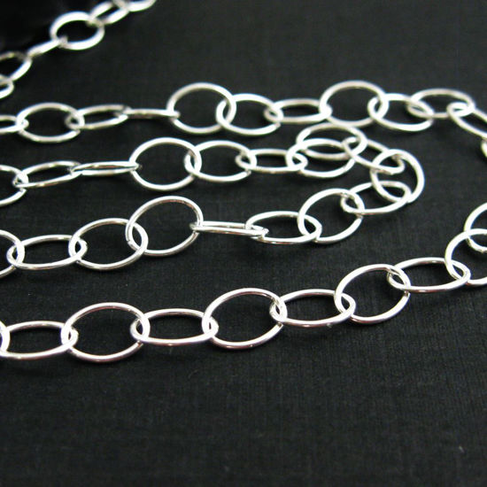 Wholesale Chain, 925 Sterling Silver Big Round Oval Cable Chain 8 by 6mm Bulk Chain by the foot