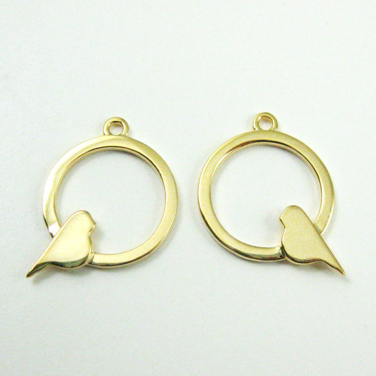 Wholesale Gold plated Sterling Silver Bird Perched in a Circle Charm, Charms and Pendants for Jewelry Making, Wholesale Findings