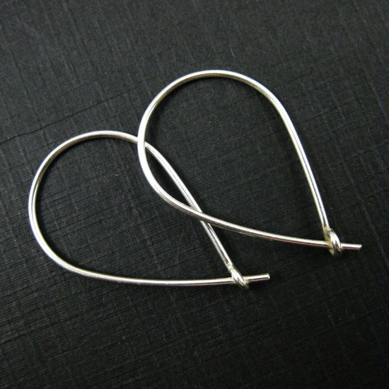 Wholesale Sterling Silver Thick Teardrop Hoops for Jewelry Making, Wholesale Earwire and Findings