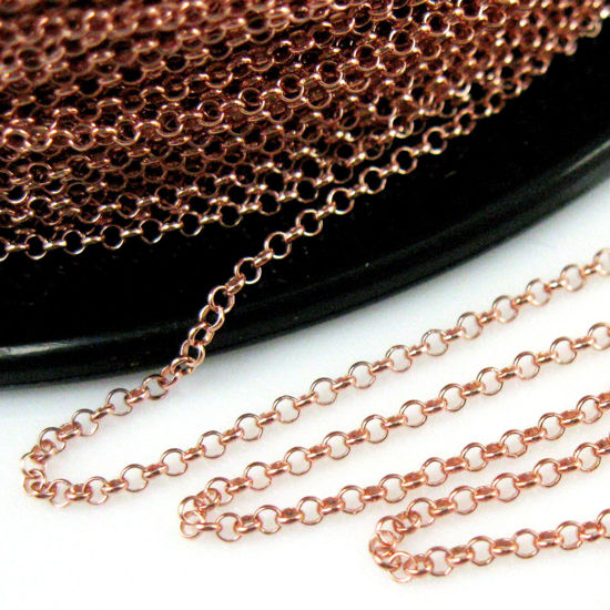 Wholesale Chain, Rose Gold plated Sterling Silver 1mm Rolo Chain, Bulk Chain by the foot
