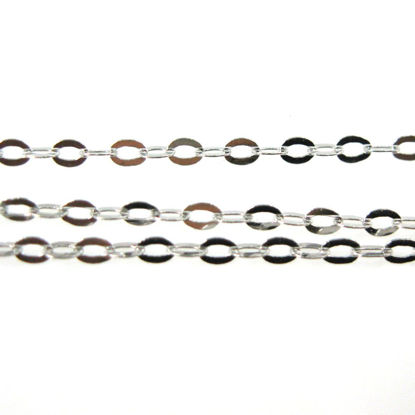 Wholesale Chain, Rhodium plated Sterling Silver Flat Cable Oval Chain 2 by 1.5mm Bulk Chain by the foot