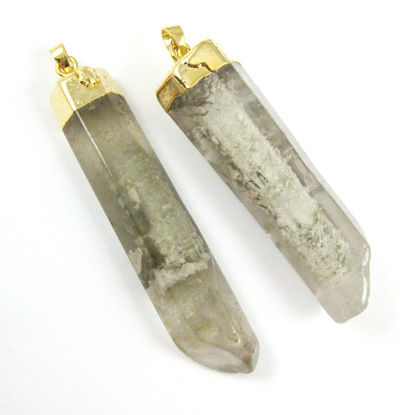 Wholesale Druzy Gemstone Natural Grey Rutilated Quartz Wholesale Pendants for Jewelry Making