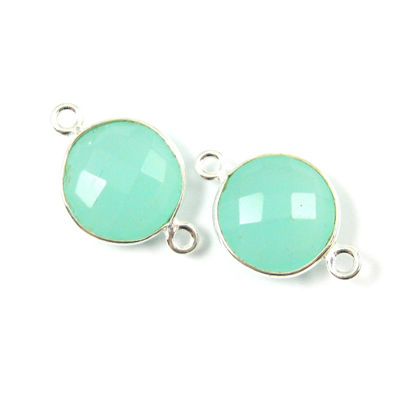 Wholesale Sterling Silver Peru Chalcedony Coin Bezel Gemstone Connector Links, Wholesale Gemstone Charms and Pendants for Jewelry Making