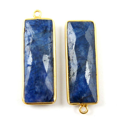 Wholesale Gold plated Sterling Silver Rectangle Bezel Blue Sapphire Dyed Gemstone Pendant, Wholesale Gemstone Pendants for Jewelry Making