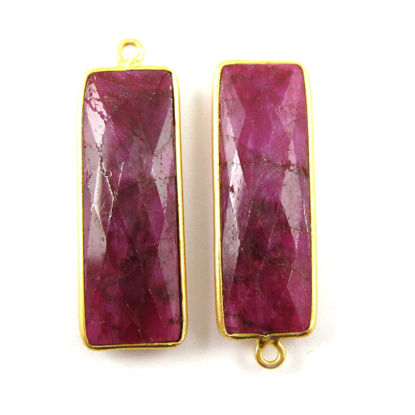 Wholesale Gold plated Sterling Silver Rectangle Bezel Ruby Dyed Gemstone Pendant, Wholesale Gemstone Pendants for Jewelry Making