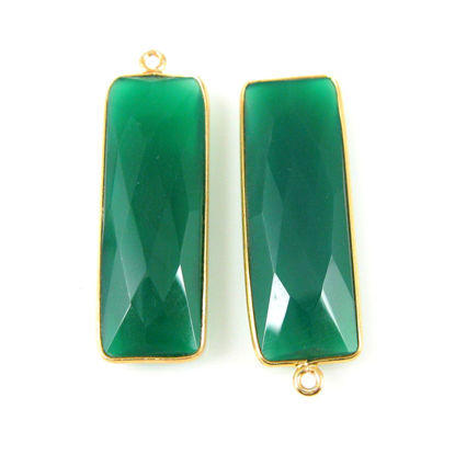 Wholesale Gold plated Sterling Silver Rectangle Bezel Green Onyx Gemstone Pendant, Wholesale Gemstone Pendants for Jewelry Making